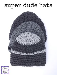 Super Dude Hats, free crochet pattern from Fiber Flux
