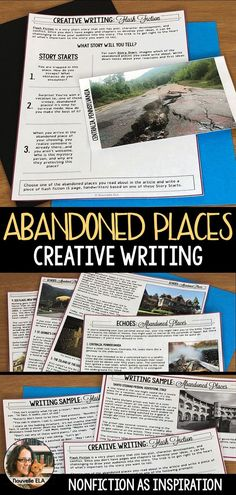 In this creative writing activity, students draw inspiration from a nonfiction article about ten real-world abandoned places! Creative Writing Classes, Creative Writing Ideas, Cool Writing, Writing Lessons, Teaching Writing, Writing Resources, Teaching Resources, Fun Writing Activities, Writing Strategies