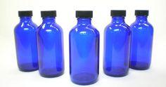 "4-1/2"" Boston Round Cobalt Blue Glass Bottles 4oz Standard Cap $1.99 each/ 6 for $1.19 each"