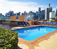 Swimming Pool at 5 star hotel: Novotel Sydney on Darling Harbour Hotel. This hotel's address is: 2009 and have 525 rooms Harbor Hotel, Darling Harbour, Pacific Ocean, 5 Star Hotels, Swimming Pools, Australia, Outdoor Decor, Sydney, Rooms