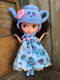 Crochet Teapot Hat Beanie Helmet for Blythe Doll by missdoolittles