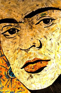 Frida Kahlo, in discarded NYC public transit fare cards.