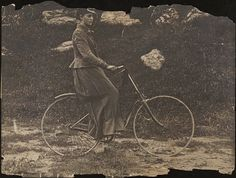 Mrs. F. M. Cossitt, first woman to ride a bicycle in New York. 1888
