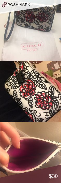 Coach Wristlet Flower Print! Coach original. Perfect for throwing some money in and walking out the door, if you are not in the mood for a wallet or purse. Original cloth bag it came in. Coach Bags Clutches & Wristlets