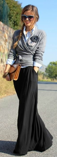 Gray Cashmere Sweater Over a Crisped Checker Shirt & Long Skirt
