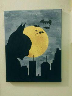 Batman overlooks Gotham as the full moon rises.    This is an original, hand painted acrylic painting of Batman on an 11 x 14 stretched canvas.
