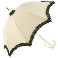 Ivory Wedding Umbrella with Black Dot Rose Lace Trims - Brolliesgalore