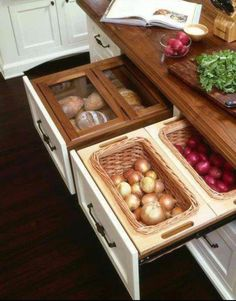 Really like this way of storing things that don't have to be refrigerated. Keeps the countertops uncluttered, too!