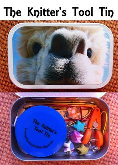 Alpaca Closeup: The Knitter's Tool Altoid Tin with notions for your Knitting Project Bag