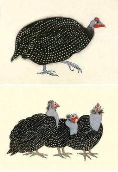 #Birds #Guinea Fowl #Illustration
