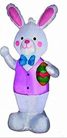 GEMMY INFLATABLE EASTER BUNNY W BOW TIE & VEST HOLDING EGG AIRBLOWN YARD DECORATION by GEMMY http://www.easterdepot.com/gemmy-inflatable-easter-bunny-w-bow-tie-vest-holding-egg-airblown-yard-decoration-by-gemmy/ #easter STANDS 7 FT TALL, LIGHTED, COMES WITH YARD STAKES AND TETHER ROPES, MADE BY GEMMY, INDOOR/OUTDOOR GEMMY INFLATABLE EASTER BUNNY W BOW TIE & VEST HOLDING EGG AIRBLOWN YARD DECORATION by GEMMY