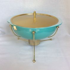 Pyrex UFO Super Deluxe Casserole 1956 Promo Cradle Warmer Lid Turquoise 024  #Pyrex