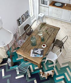 modern + industrial + rustic dining room with awesome turquoise and purple parquet flooring - wall design?