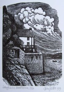 'The Boathouse, Laugharne' by John Petts, 1989 (wood engraving) National Museum Of Wales, Cool Artwork, Amazing Artwork, Value In Art, Art Society, Inspirational Artwork, Chiaroscuro, Wood Engraving, Illustration Sketches