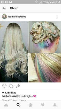 Cabello Underlights, Underlights Hair, Pretty Hairstyles, Easy Hairstyles, Under Hair Dye, Pelo Multicolor, Wild Hair, Hair Blog, Face Hair