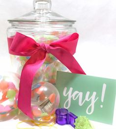 Fun and Creative Gifts | Love this idea of a jar full of balloons. Each filled with a little surprise inside!