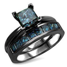 $99.95 @evolees #Evolees #fashionjewelry Princess Cut Blue Diamond Engagement Ring And Wedding Band Wedding Set