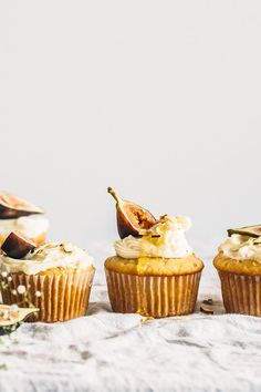 These Vegan Almond Cupcakes are made with almond extract, topped with figs and the recipe includes two icing options, one vegan and one not.
