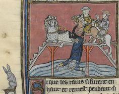smiling horses     Robert de Boron, L'Estoire de Merlin, Northern France ca. 1280-1290.     Paris, BNF, Fr. 95, fol. 138v