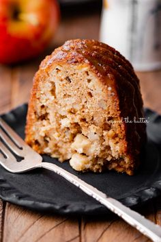 This Apple Bundt Cake is the perfect dessert to make when you don't feel like messing around with anything complicated! It is made up of chunks of tender apples, chopped walnuts, cinnamon, and applesauce. And while it's still warm, drizzle this decadent brown sugar glaze over the top! Find the full recipe on BeyondtheButter.com!