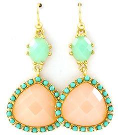 Mint + blush earrings