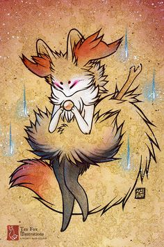 Braixen Pokemon / Kitsune Fox Anime Game Geekery / Japanese Asian Style / 4x6 Fine Art Print on Etsy, $6.00
