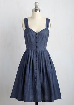 Rover the River Dress - Blue, Solid, Casual, Sundress, Sleeveless, Fall, Woven, Better, Denim, Nautical, Americana, Fit & Flare