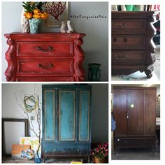The Turquoise Iris ~ Vintage Modern Hand Painted Furniture: Curves for Days Here With This Coral Red Chest Furniture Makeover