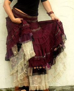 Absolutely unique upycled skirt, long and wide shabby chic gypsy style by jamfashion on Etsy https://www.etsy.com/listing/207419930/absolutely-unique-upycled-skirt-long-and