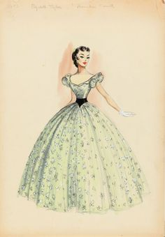 """Costume sketch for Elizabeth Taylor - Raintree County (MGM, (Republic, Original costume design sketch in graphite, watercolor & gouache, featuring Elizabeth Taylor as """"Susanna Drake"""" wearing a pale green floral ball gown Vintage Dress Patterns, Vintage Dresses, Vintage Outfits, Original Costumes, Vintage Fashion Sketches, Costume Design Sketch, Drag Clothing, Hollywood Costume, Hollywood Fashion"""