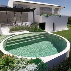 Raised fully tiled circular pool design by tristanpeirce Landscape Architecture, Pool and Garden Design Perth Backyard Pool Landscaping, Small Backyard Pools, Swimming Pools Backyard, Swimming Pool Designs, Pool Fence, Patio, Circular Garden Design, Raised Pools, Natural Swimming Ponds