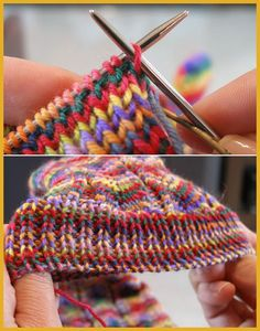 invisible bind-off - Tutorial (Amazing Knitting) patterns afghan patterns crochet patterns afghan scarf blanket Knitting Help, Knitting Stitches, Knitting Socks, Knitting Patterns Free, Knit Patterns, Hand Knitting, Knitting Machine, Vintage Knitting, Baby Patterns