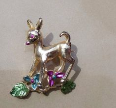 vintage deer fawn figural hand painted by PaganCellarJewelry, $11.99