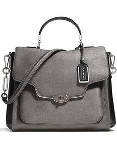 COACH MADISON SADIE FLAP SATCHEL IN SPECTATOR SAFFIANO LEATHER - Coach Handbags - Handbags & Accessories - Macy's