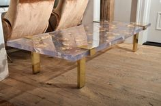 Contemporary Gold Leaf Inlay Coffee Table with Brass Frame image 2