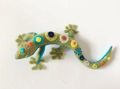 Felt Gecko Felt Multicolored Lizard Rainbow Gecko Stuffed by Amuru