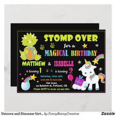 Unicorn and Dinosaur birthday invitation Twins Rainbow Birthday Invitations, Dinosaur Birthday Invitations, Zazzle Invitations, Party Invitations, Invite, Magic Party, Girl 2nd Birthday, First Birthdays, Holiday Cards