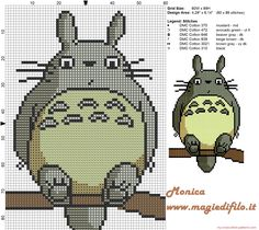 Totoro cross stitch pattern - More DIY can be found at… Kawaii Cross Stitch, Geek Cross Stitch, Beaded Cross Stitch, Cross Stitch Charts, Cross Stitch Designs, Cross Stitch Embroidery, Embroidery Patterns, Free Cross Stitch Patterns, Totoro