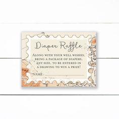 Adventure Baby Shower Diaper Raffle Ticket Cards travel