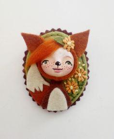 Fox Cameo Felt Brooch, Felt Brooch, woodland Brooch, Animal Brooch. $28.00, via Etsy.
