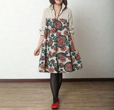 Floral Print cotton dress linen dress women long dress casual loose dress cotton shirt large dress cotton tops cotton blouse plus size dress...