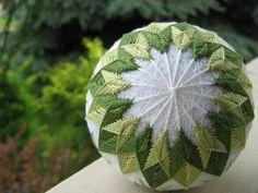 Fern - hand embroidered thread ball - Japanese temari