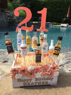 Alcohol cake for Cute and easy! All items from Michael& birthday gift! Alcohol cake for Cute and easy! All items from Michael& craft store. Diy 21st Birthday Cake, 21st Birthday Gifts For Best Friends, 21st Birthday Basket, 21st Birthday Paddle, Cute Birthday Gift, 21st Gifts, Best Friend Gifts, Birthday Bash, Liquor Bouquet