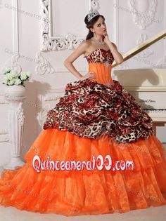 8d94143a6a Orange Leopard Print Sweet 16 Quince Dresses with Sweep   Brush Train  Mexican Quinceanera Dresses