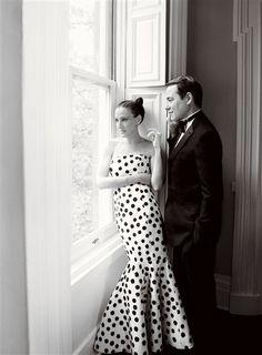 Black and white polka dot dress on SJP Vogue Shoot