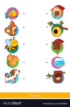 Educational children game matching game for kids vector image on VectorStock Preschool Activity Books, Preschool Learning Activities, Color Activities, Preschool Worksheets, Toddler Activities, Animal Worksheets, Kids Vector, School Themes, Matching Games