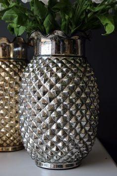 a antiqued silver pineapple vase Pineapple Vase, Crushed Pineapple, 1950s Decor, Rockett St George, Lit Wallpaper, Eclectic Living Room, Kitchen Art, Flower Vases, Antique Silver