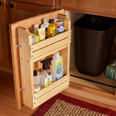 Here's a simple project to bring order to the chaos: a door-mounted storage rack. You can modify this basic idea to organize other cabinets too. A complete materials list and assembly diagram are available here Cabinet Door Storage Rack. Cabinet Door Storage, Kitchen Sink Storage, Kitchen Cabinet Doors, Storage Rack, Storage Cabinets, Kitchen Organization, Kitchen Cabinets, Cabinet Drawers, Cabinet Ideas