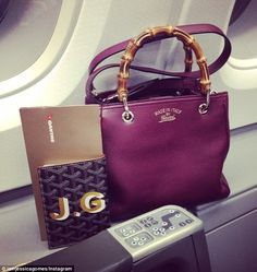 9dd556d24a60d Goyard passport holder and burgundy Gucci bamboo shopper leather tote.