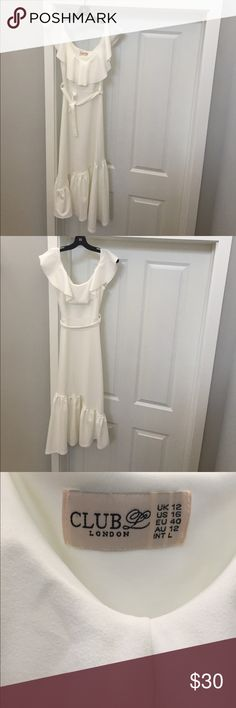 "Like-new condition Club L ""Bardot"" dress Only worn once, this dreamy dress needs to be shown off!  Stretch crepe fabric, off the shoulder detail and a flouncy A-symmetrical hem makes this the perfect summer staple. Size says US 16, fits more like an 8/10 (when purchased I ordered in an 8). Only small flaw is some stitching on the shoulder that has unraveled slightly - see picture above. Otherwise, like new! Club L Dresses Midi"